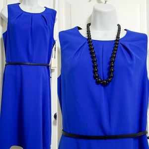 Calvin Klein blue/ black luxe belted fit and flare